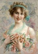 vintage portrait of a girl with a bouquet of tea roses