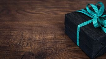 gift with a turquoise bow
