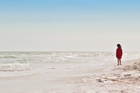 girl in a red dress on the shore of the ocean