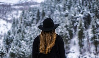 Woman Forest Black Hat