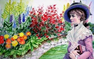 graphic image of a victorian woman in a bright garden