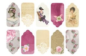 Vintage Ladies tags drawing