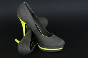 gray women shoes with yellow heels