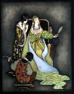 Fairy Tale illustration, beautiful woman with Mirror
