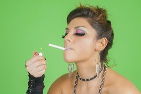 Agressive woman is smoking