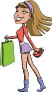 Girl with Shopping Bag drawing