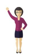 Short haired Businesswoman with hand up, drawing