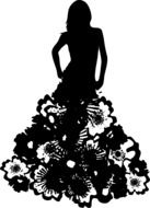silhouette of a girl in a dress of flowers