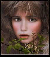 portrait of a beautiful girl with brown hair