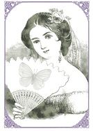 vintage portrait of a woman with a fan