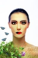 Woman and butterflies clipart