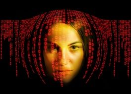 Woman Face under red Binary code