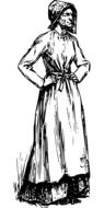 drawing of a victorian woman in a dress