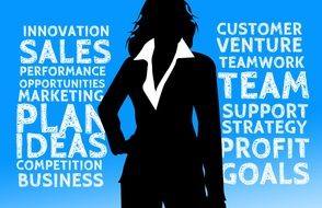inscription on a blue background and the silhouette of a girl in a business suit