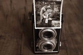 old camera with old photo