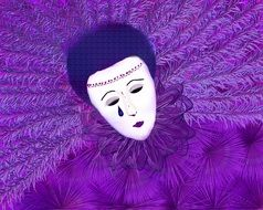carnival mask with violet feathers