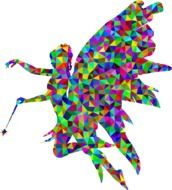 colorful silhouette of a woman with wings