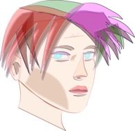 Drawing of head with colorful hair