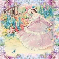 beautiful Lady in blooming garden, Vintage Drawing