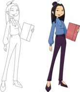 graphic image of asian businesswoman