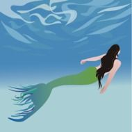 graphic image of a mermaid in the water