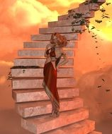 beautiful girl on an abstract staircase as a 3D model