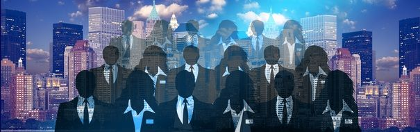 banner with business people silhouettes