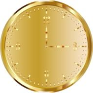golden clock face, render
