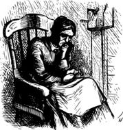 picture of old woman on a rocking chair