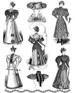 vintage drawings of ladies in ball gowns