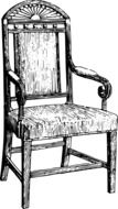 black and white graphic image of an antique chair in detail
