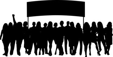 silhouette of a crowd of people with a banner