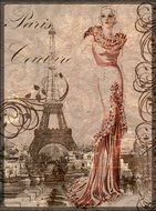 vintage drawing of the lady in Paris