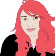drawing of a woman with red hair