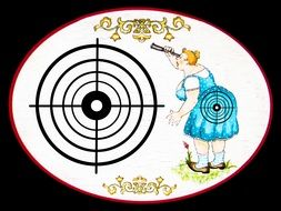 drawing of a woman shooting at a target