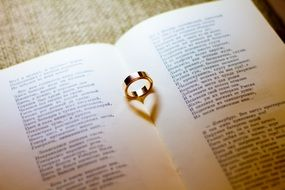 gold ring for engagement on an open book