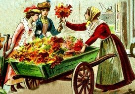 flower girl selling bouquet to ladies, Vintage Postcard
