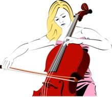 drawing of a woman with cello