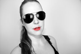 Sunglasses Woman with Red Lips