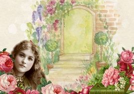 vintage background with floral frame and elegant woman