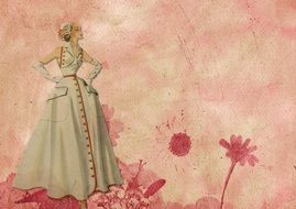 painted lady in vintage dress on a pink background