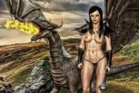 naked wooman and dragon, Gothic Fantasy artwork