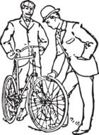 Black and white old-fashioned drawing of the men and bicycle