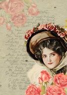 vintage portrait of a woman with roses