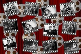 Black and white photos of the movie stars clipart