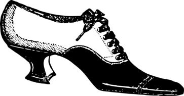 black and white graphic image of women\'s shoes with heels