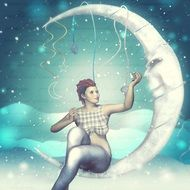 Girl sitting on a Moon