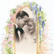 Retro photo of newlyweds in a floral frame