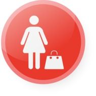 image of woman with bag on red button
