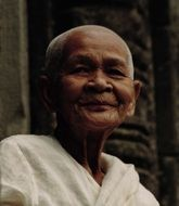 female buddhist in bayon temple